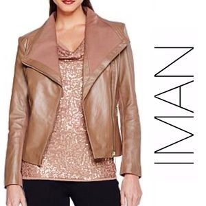 IMAN Taupe Brown Womens Leather Moto Jacket, XL
